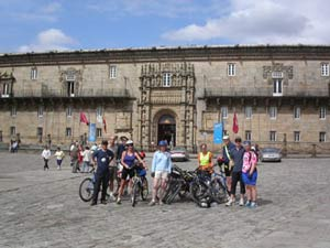 Cyclist by the Parador of Santiago de Compostela