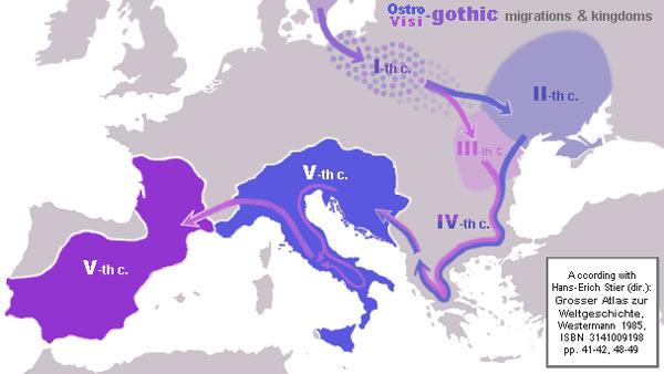 Évolution des Ostrogoths et des Wisigoths, Ier-Ve siècles.
