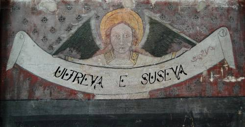 Ultreia e suseia declared by an Angel on a Church wall on the Camino de Santiago