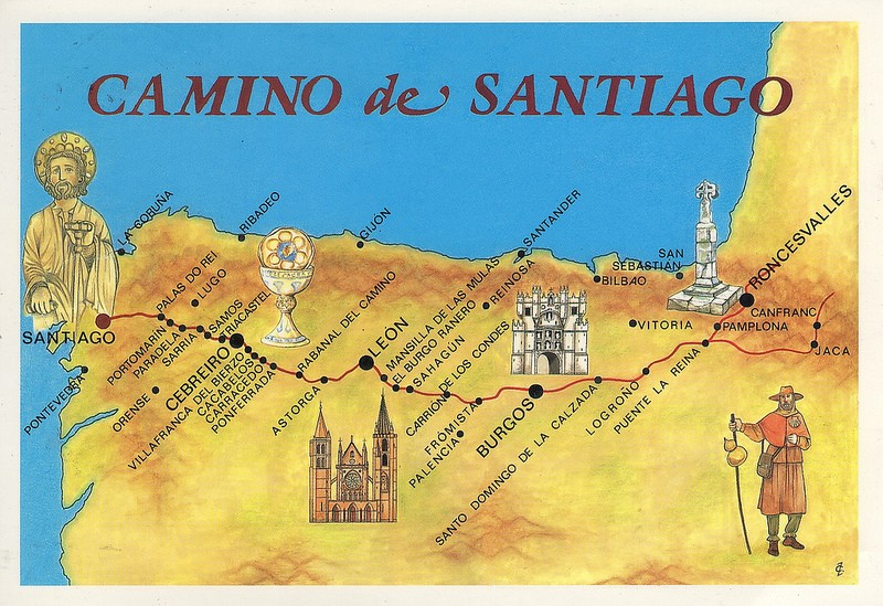 Map of the French Way, the most popular route of the Camino de Santiago