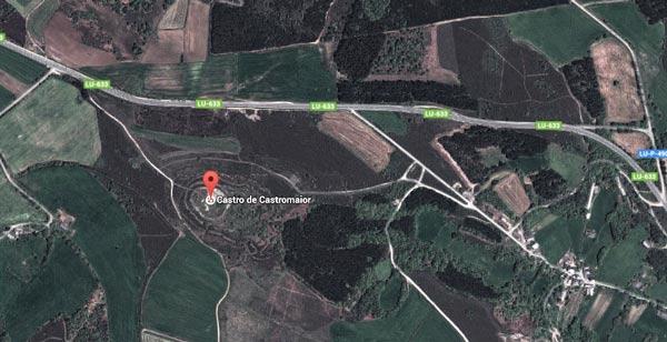 Le Castro de Castromaior entre Portomarin et Palas de Rey vu du ciel