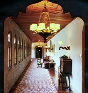 Detail of a corridor inside the Parador of Santiago de Compostela