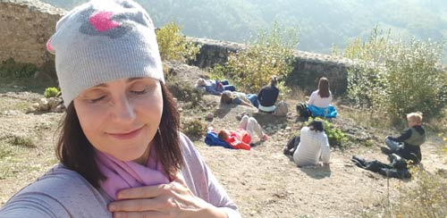 Esther Bartkiw Group relaxing on the Camino de Santiago