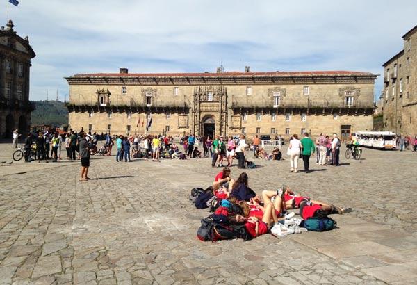 The view onto the Parador of Santiago de Compostela, El Hostal de Los Reyes Catolicos from the Obradoiro Square