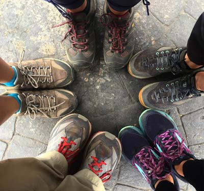 Pilgrim feet on the Camino de Santiago