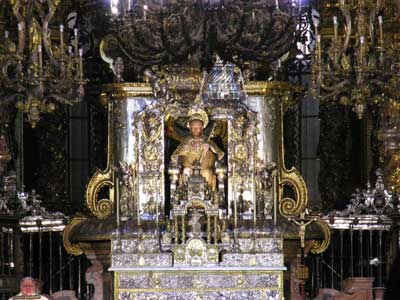 Detail of the High Altar of the Cathedral of Santiago with the statue of Saint James in the middle