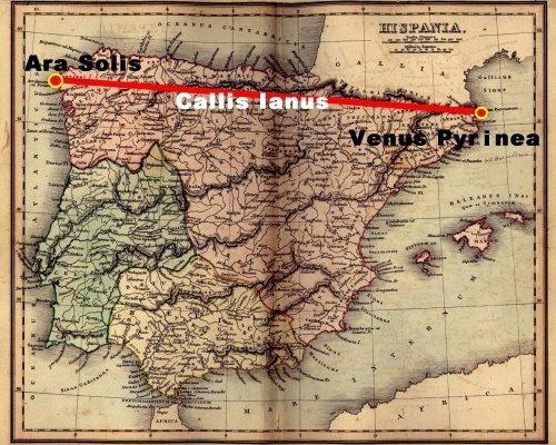 Plan de la Pénisule Ibérique coupé par le Chemin de Janus ou de Hercules