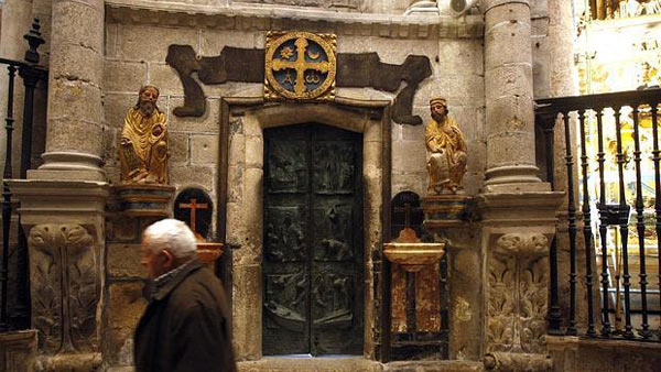 The closed Holy Door of the Cathedral of Santiago de Compostela from inside
