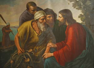 Painting of Jesus, James, John & Zebedee encounter by the seashore by Sr. Gregory Ems