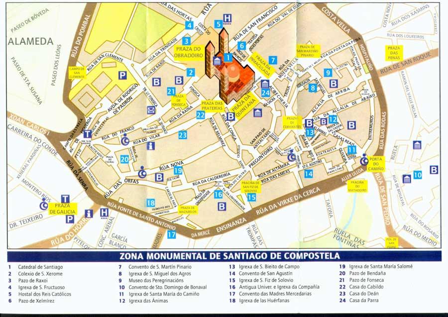 Map of Santiago de Compostela