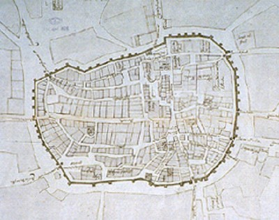 Map of walled Santiago de Compostela in Medieval Times