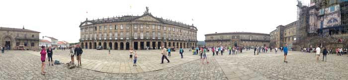 The Plaza del Obradoiro in Santiago de Compostela, at the end of the Camino