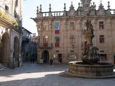 Platerías Square fountain in Santiago de Compostela