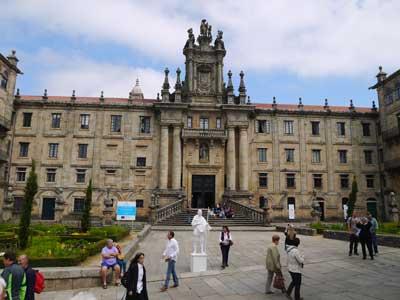 The facade of San Martín Pinario from the Plaza de la Inmaculada