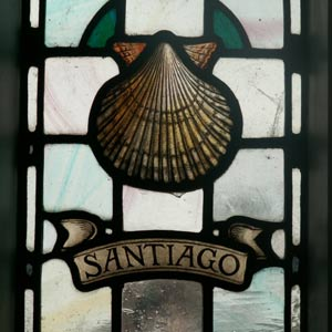 Stained Glass with the inscription Santiago and a Scallop Shell