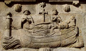 Carved Panel on the Plaza de Fefiñáns, Cambados, commemorating the arrival of St. James's body in a stone vessel