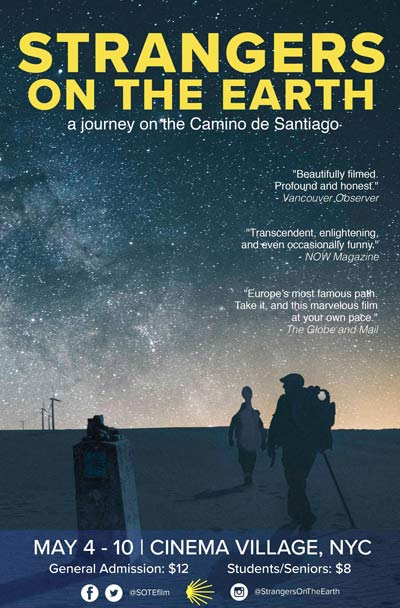 STRANGERS ON THE EARTH, a new documentary film about the Camino de Santiago, opens May 4 in New York and June 1 in Los Angeles (select cities to follow).