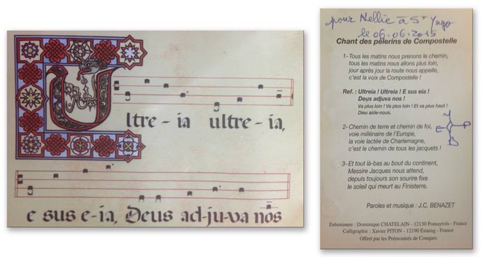 Tous les matins, signed by French pilgrim Jean-Claude Benazet