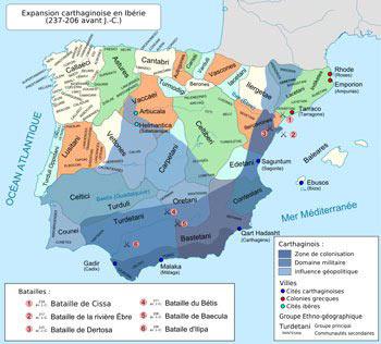 La zone d'influence de Carthage et ses principales batailles en Ibérie entre 237 et 206 av. J.-C..