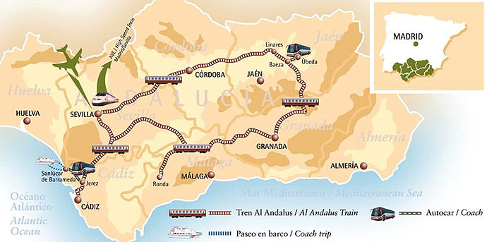 Map of the Al-Andalus Luxury Train Journey